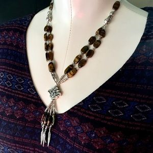 Jewelry - Tigers eye beaded lotus lariat necklace